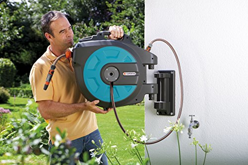 Introducing the Gardena Wall-Mounted 35 Meter Automatic Hose which utilises winding technology to provide the user with an easier experience. The winding system features an integrated hose guiding system and a centrifugal brake to guide the hose in and out of the box. Its not the only hose with this feature but its without doubt the best, however you pay a premium for this butt the quality is unmatched. You will experience no kinks or twists of the hose when using this hose which is the real point here.