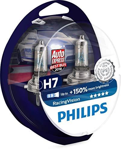 Philips RacingVision +150{00d95357dee1b5fb20a7436ddd5aa8e4d512a18fde87c1f43ac11789954129a9} H7 Scheinwerferlampe 12972RVS2, Doppelset