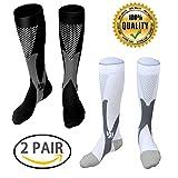 LJ Sport, calze unisex a compressione graduata da 20–30 mmHg, adatte a corridori, infermieri, viaggiatori, insegnanti, maternità, allenamento, per uso medico in caso di periostite tibiale e viaggi aerei lunghi, Uomo, Black+White, L/XL