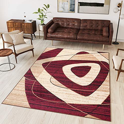 TAPISO Dream Tappeto Soggiorno Salotto Moderno Rosso Beige Geometrico Quadrato A Pelo Corto 130 x...
