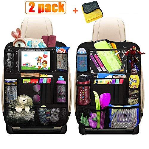 2 Stück Premium Auto Rückenlehnenschutz, HE-TOP Autositz Organizer mit Taschen | Rücksitz Schutz Kick-Matte | Auto Rücksitz-Organizer für Kinder mit Durchsichtigem Großen Tablet iPad Fach