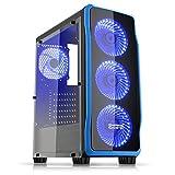 Empire Gaming - PC-Gehäuse Gaming DarkRaw Schwarz LED-Leuchte Blau: USB 3.0 und USB 2.0, 4 LED-Lüfter 120 mm + Steuergerät für Lüfter, Seitenwand 100% transparent - ATX / mATX / mITX