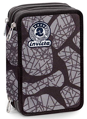 Astuccio 3 Zip Invicta Stone, Nero, Con materiale scolastico: 18 pennarelli Giotto Turbo Color, 18...