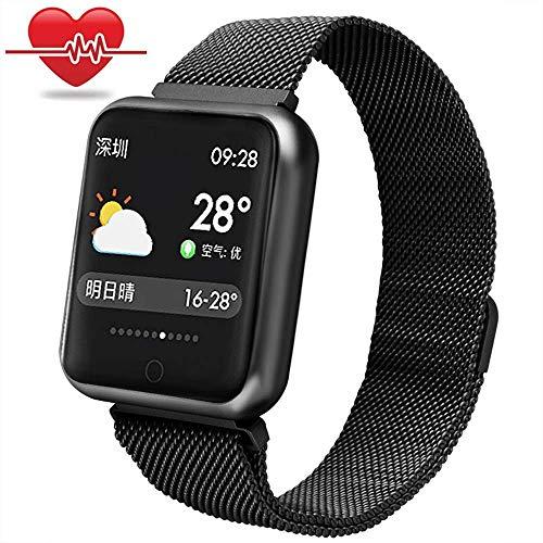 RanGuo - Reloj Inteligente para Hombres, Mujeres y niños, Deportes al aire libre impermeable Smart Watch para sistema Android y iOS, Apoyo recordatorio de llamada y recordatorio de mensaje (Negro)