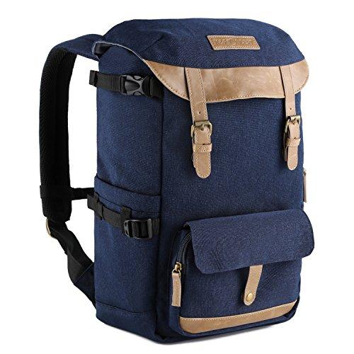 K&F Concept® Kamerarucksack Rucksack Kamera Fotorucksack für Canon Nikon Sony SLR Spiegelreflexkamera mit Regenschutzhülle 16 Liter Blau