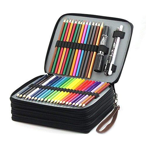 Laconile PU 168carta super grande capacità multi-strato studenti matite colorate organizzatore...