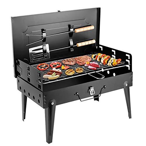 SunJas Barbecue Barbecue à charbon,BBQ Barbecue Four de Charbon Portable Standgrill Portable BBQ Charbon Pliable Robuste Barbecue grill Charbon (43*26.5*46.5cm)
