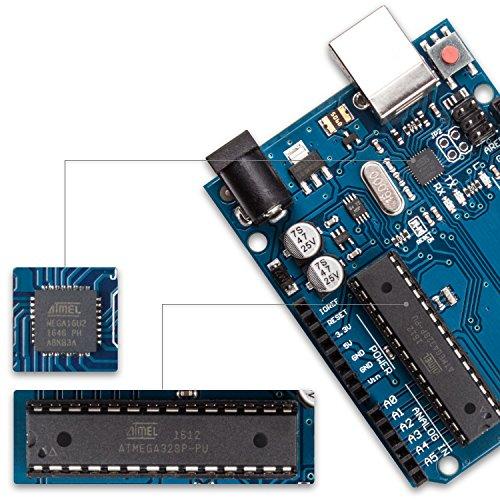 51fF6fifQLL - Smraza para Arduino Uno R3 Starter Kit con Breadboard, Cables de Puente, Cable USB, Leds y Base Acrílica Compatible con Placa Arduino UNO Mega2560 Mega328 Nano