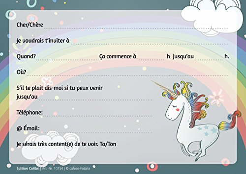 Carte Dinvitation Theme Licorne