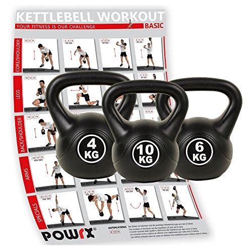 POWRX - Kettlebell 20 kg Set (4 kg, 6 kg, 10 kg)