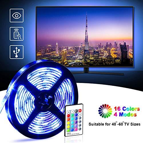 Retroilluminazione TV LED, OMERIL 2.2M Striscia LED Impermeabile con 16 Colori e 4 Modalità per...