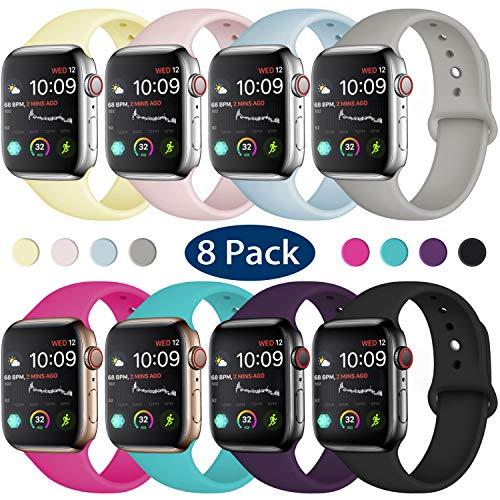 Hamile Correa Compatible con Apple Watch 38mm 40mm, Correa de Repuesto de Silicona Suave para Apple Watch Series 4/3/2/1, S/M, 8 Pack