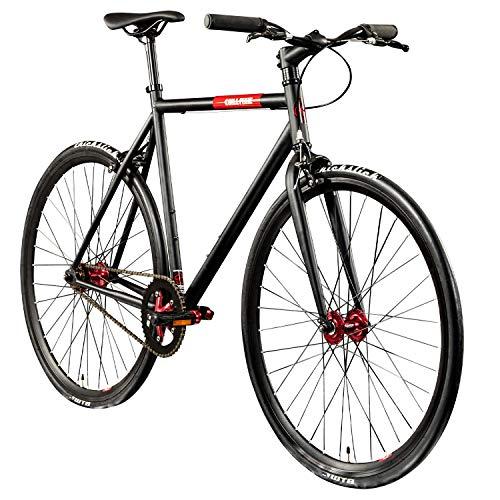 "Chill Singlespeed 700c Fixie Bike Retro Fahrrad Fitnessbike Fixie 28"" Rennrad (schwarz/rot, 59 cm)"