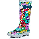 Spylovebuy Flat Festival Wellies Wellington Knee High Rain Boots Multi UK 8