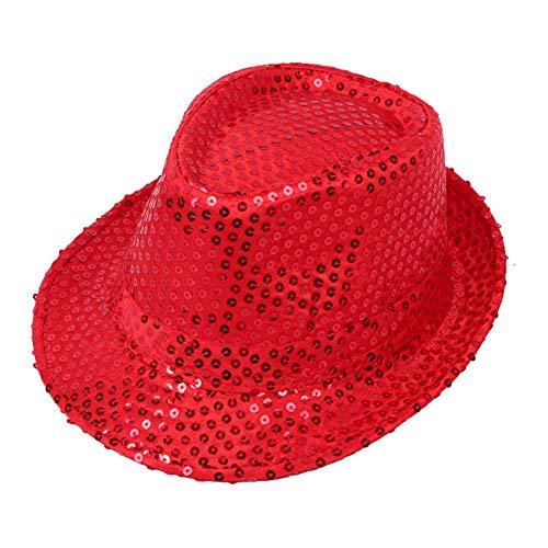 Kentop Sombrero de Jazz Cap Lentejuelas Sombrero de Copa Niño Sombrero Fiesta Danza