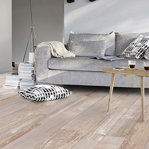 Living Floor, Pavimento in PVC effetto parquet in stile shabby vintage, larghezza: 2 m, lunghezza...