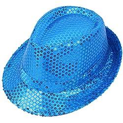 Leisial. Gorra de Disfracez Sombrero de Jazz Lentejuelas Sombrero de Fiesta Baile Rendimiento Otoño Verano para Niño Adulto Unisex (Color 1 - Niño)