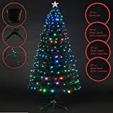 Deluxe Green 3ft,4ft,5ft,6ft Christmas Tree Multicolor LEDs 8 FTN Controller & Top Star - 3FT w/ Gold Plastic Pot (80 LEDs)