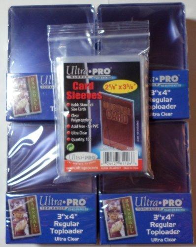 100 Ultra Pro Toploader + 100 Soft Sleeves - Ultra Clear - 4 Packs - Regular 3 x 4 - Top Loader -...