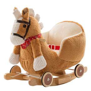 Caballo de madera Caballo Mecedora de Madera Maciza niños Silla Mecedora para bebés Juguetes Regalo de cumpleaños para…