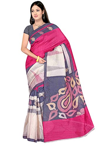 Winza Designer Cotton Saree with Blouse Piece (1133+(pink)_White and Trendy Pink_Free Size)