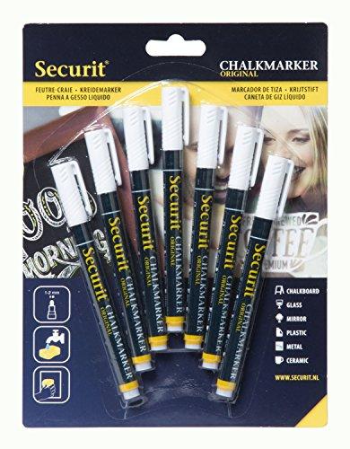 Securit - Penna a gesso liquido, punta rotonda, colori diversi, 1/2 mm, 7 pezzi 1-2 mm con punta...