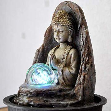 Zen' Light Buda Peace Fuente, Resina, Bronce, 15x 15x 21cm 6