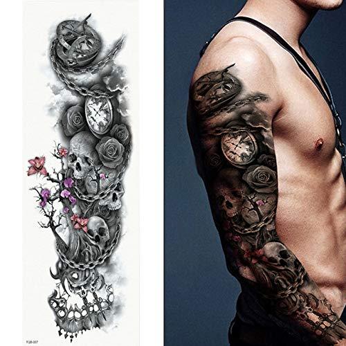 tzxdbh 5Pcs- Tatuaggi A Braccio Pieno, Adesivi per Tatuaggio Impermeabili Femminili A Doppia Pistola per Uomini Donne Adulti Bambini, Tatuaggi Mark-in Scuri da su Qtb07