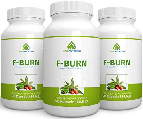 Green Nutrition F Burn - 90 Kapseln - 100% Natürlich - Guarana Extrakt - Grüner Kaffee - Grüner Tee - B6 & B12 Vitamine - geeignet für Frauen und Männer - 3er Pack
