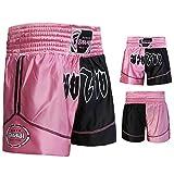 Farabi Pantalones Cortos de Boxeo, Artes Marciales, Muay Thai en Color Negro y Rosa, Talla M