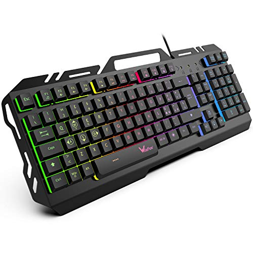 Tastiera da Gioco, WisFox Tastiera Cablata USB Retroilluminata a Colori Rainbow, Tastiera da...