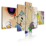 DekoArte 418 Cuadro moderno en lienzo, Estilo Abstracto Kandinsky, Beix, 5 piezas (180x85cm)