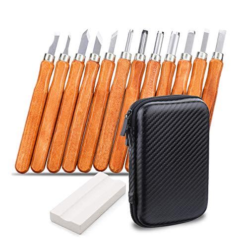 Holz-Schnitzwerkzeug Set, NASUM 12 teiliges Holz-Schnitzmesser und ein Schleifsteine, für holz, Obst, Gemüse, Carving DIY, Skulptur und Wax