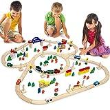 circuito de Tren + Pueblo | 130 piezas de Madera | 5 metros de ferrocarril + casas + árboles + coches + personaje + etc | para niños y niñas