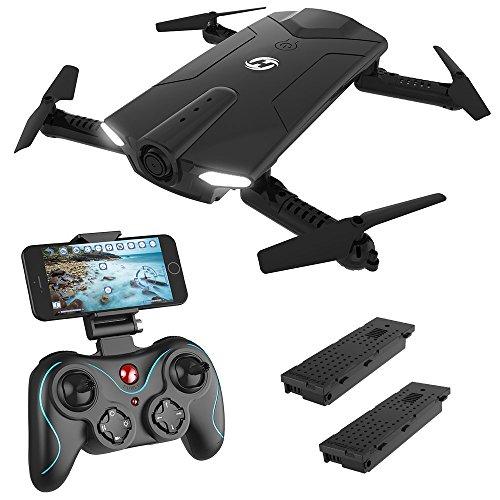 Holy Stone HS160 Mini Drone Pieghevole FPV Droni Tascabile con Telecamera HD Live e Tempo di Volo più Lungo Sistema di Stabilizzazione Quadricottero Remoto con Controllo Automatico Dell'altezza Nero