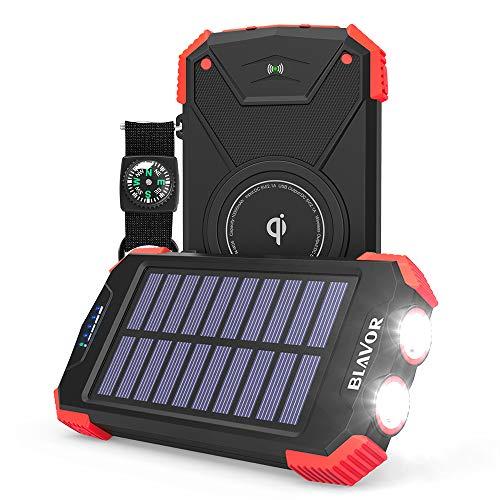BLAVOR Cargador Solar Móvil 10000mAh Batería Externa Portátil Qi Power Bank Tipo C Puerto de Entrada Linterna Dual, Brújula, A Prueba de Salpicaduras, DC5V / 2.1A (Rojo)