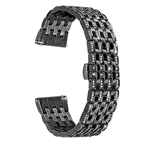 TRUMiRR 22 Millimetri Crystal Rhinestone Diamond Watch Cinturino in Acciaio Inossidabile per Samsung Gear S3 Classic Frontier, Gear 2 Neo Live, Moto 360 2 46mm, ASUS ZenWatch 1 2 Uomini