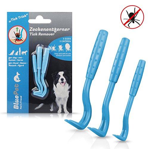 Bluepet Tick-Trick 3X Set Zeckenhaken Zeckenentferner | Sicherste Methode um Zecken zu entfernen | Für Jede Zeckengröße | Einfacher als Zeckenzange Zeckenschlinge