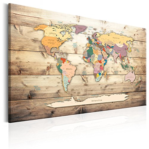 murando - Lavagna di Sughero 90x60 cm - 1 Parte - Quadro su Tela fliselina - Poster Mappa del Mondo...