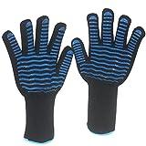 Kaze, Ofenhandschuhe, 1 Paar Grillhandschuhe mit 15 cm Unterarmschutz, Hitzebeständig bis zu 500 °C, BBQ Handschuhe, Rutschfest, Schnittfest