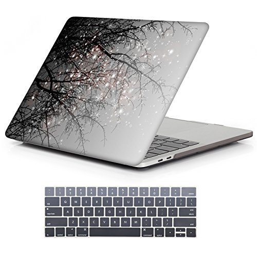 "iCasso Macbook New Pro 13 Case Hard Shell Protective Cover For Newest 13-inch Macbook Pro 13""Retina Model A1706/A1708 with/without Touch Bar and Touch ID with Keyboard Cover (Gray Tree)"