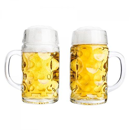 Van Well–Set da pezzi misura Brocca 0,5L calibrato | a mezzo litro Boccale di birra con manico | Birra vetro lavabile in lavastoviglie perfetto adatto per uso alimentare