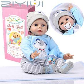 ZIYIUI Reborn Muñeco Bebé Niño de Vinilo Suave Silicona Muñeca Reborn Babys Chico Recién Nacido 22 Pulgadas Niños…