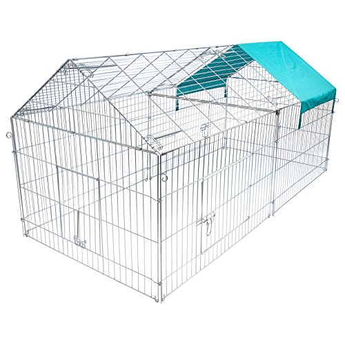 EUGAD Freilaufgehege Freigehege mit Ausbruchsperre Hasen Kaninchen 220 x 103 x 85 cm inkl Sonnerschutz 0201HT