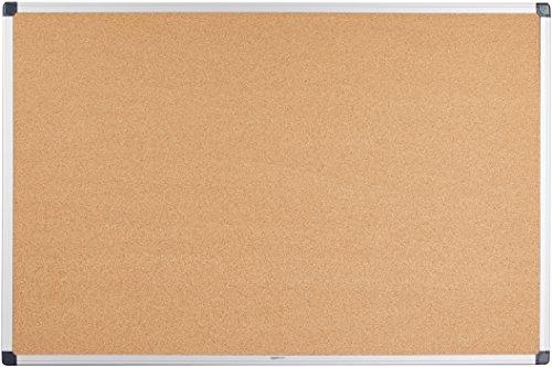 AmazonBasics - Bacheca in sughero, con cornice in alluminio, 90 x 60 cm