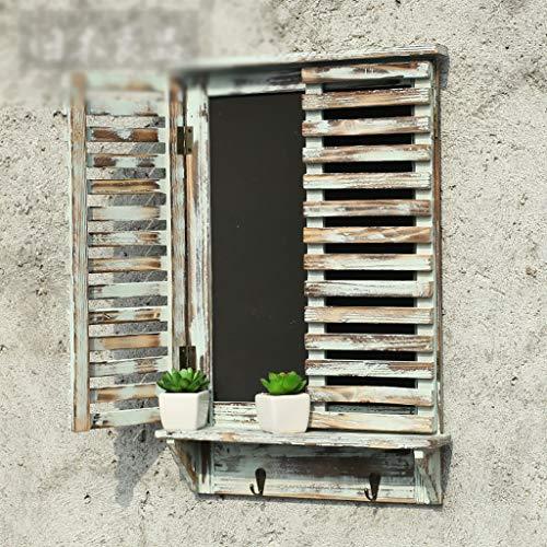Mensole Mensole a muro Mensole a muro Organizer a muro in legno rustico con lavagna, mensola e ganci...