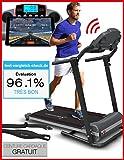 Tapis de course Sportstech F10 avec app de contrôle via smartphone, ceinture d'impulsion de valeur de 39,90 € inclue, Bluetooth, 1HP, 10KM/H, 13 programmes de marche et de course– pliable