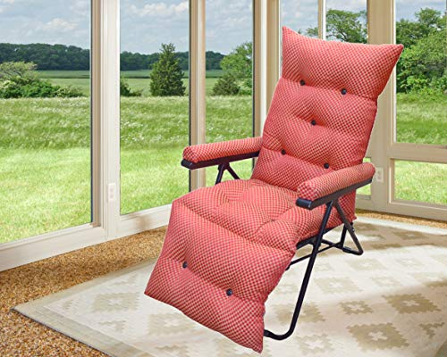 bi3 Household Multifunction Adjustable Lazy Chair Beach Easy Portable Folding Garden Lazy Chair Recliner Camping Zero Gravity Lounge Chair Loungers Position Relaxers Chairs - red Color
