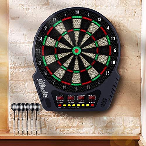 Laiozyen Elektronische Dartscheibe Dardboard mit 4 LCD-Anzeige, 6 Dartpfeilen  27 Spiele mit 243 Spieloptionen Profi Elektronik Dartspiel E Dartautomat