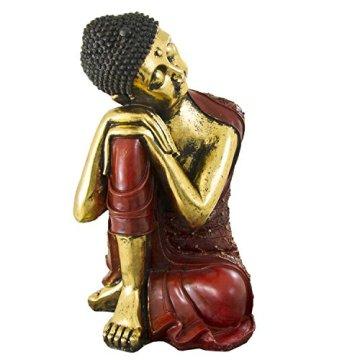 Figura buda de resina en color rojo y dorado | 60 cm de alto | Portes gratis 4